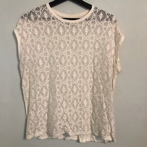 Cream Cap Sleeve Crochet Top M